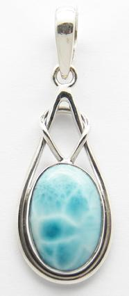 photo of larimar sterling silver pendant from dominican republic