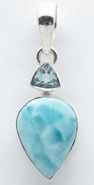 photo of larimar and blue topaz pendant in sterling 925 silver