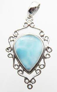 photo of beautiful larimar and sterling silver 925 pendant from dominican republic