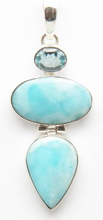 photo of larimar pendant, two stones plus blue topaz