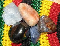 elements of nature, blue calcite, sunstone, hematite, sodalite, pietersite