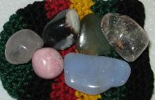 Love healing stones blue lace agate sardonyx rhodonite rose and clear quartz jade nephrite