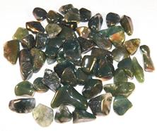 Photo is of tumbled moss agate stones from Brazil