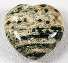 photo of ocean jasper from madagascar puffy heart 30 mm fish eye jasper