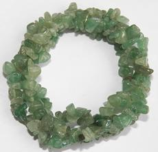 Green Aventurine chip bracelet triple strand, twist, unique and beautiful