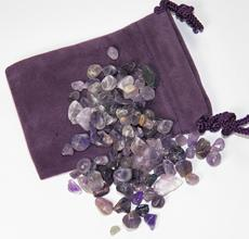 amethyst, india, chips, tumbled crystals, power stone, velvet bag,