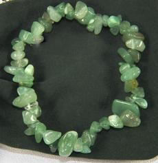 photo of green aventurine chip bracelet from india with soft velveteen pouch and metaphysical info card BEST PRICE