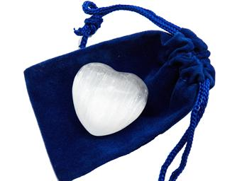 photo of white selenite heart from morocco