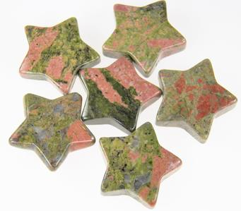 photo of star shaped unakite gemstone worry stone pocket stone