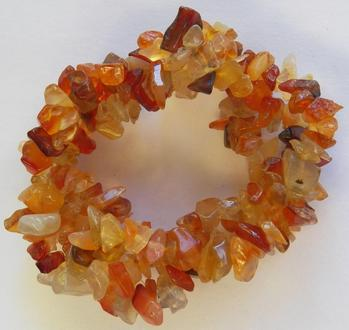beautiful bracelet, triple twist strand carnelian agate chips from brazil