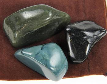 Photo of collection of Blue, Black Lemurian, and Green Nephrite Jade