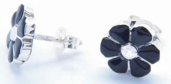 photo of zuni handmade earrings, black onyx and sterling silver