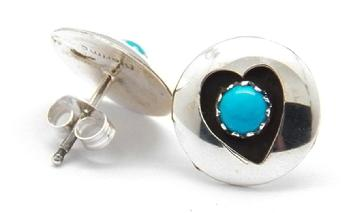 photo of zuni heart stud earring with turquoise