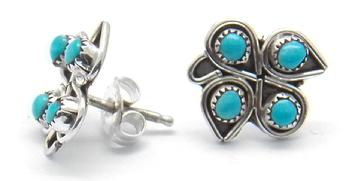photo of zuni post earring with four pieces of turquoise