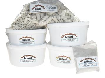photo of rock tumbling grit kit with ceramic tumbling media