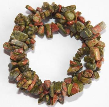 Beautiful Unakite chip bracelet, triple strandtwist