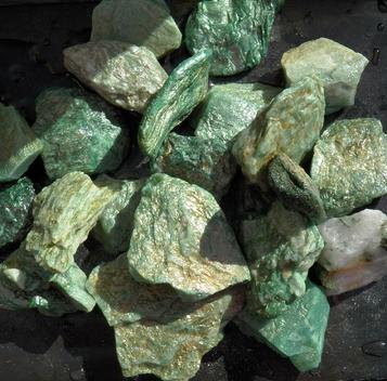 fuchsite, brazil, sparkly, rough stones, tumbling rock, crystals