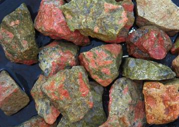 photo of unakite rough tumbling rock from south africa