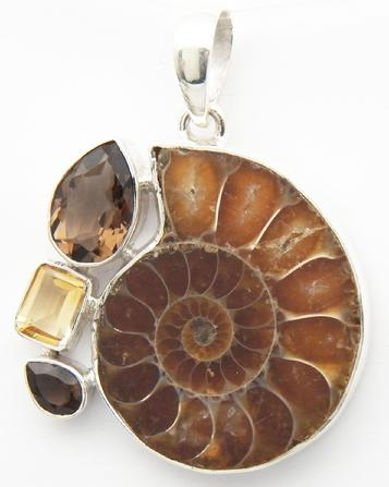 photo of ammonite citrine and smoky quartz pendant set in sterling silver