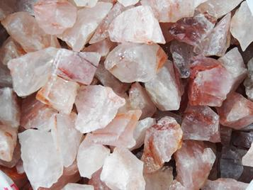 fire quartz, hematoid, hematite, ferruginous, crystal, rough rock, tumbling, tumbler, madagascar