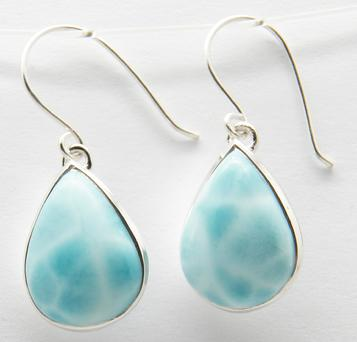 photo of larimar teardrop style earrings