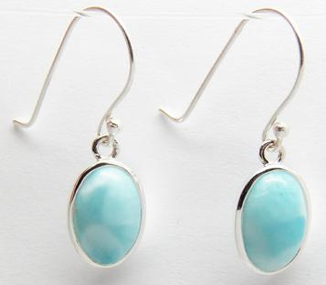 photo of oval style larimar earrings