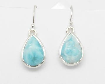 photo of larimar earrings teardrop style, 925 silver