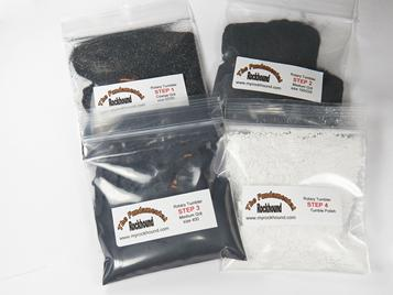 PHOTO OF prepackaged grit kits for rock tumbling silicon carbide coarse medium fine polishes grit saver