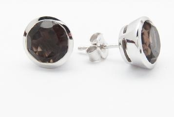 photo of smoky quartz large stud earrings