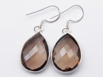 photo of smoky quartz large teardrop earrings