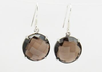 photo of smoky quartz round faceted earrings