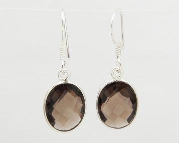 photo of smoky quartz oval faceted earrings