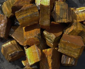 gold tiger eye, chatoyant, south africa, rough, tumbling rock, stones, crystals