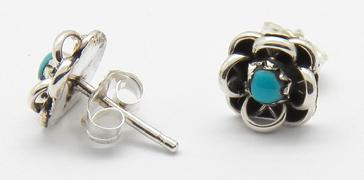 photo of zuni jewelry flower stud with turquoise