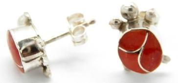 photo of zuni handmade earrings, red coral and sterling silver