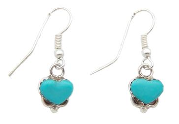 photo of real turquoise zuni heart dangle earrings