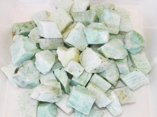 photo of amazonite tumbling rough from India